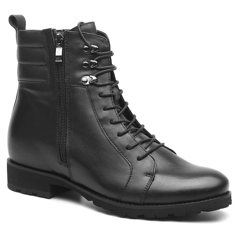 Hidden High Heel Black Leather Men Elevator Biking Boots Taller 7 CM /2.76 Inches