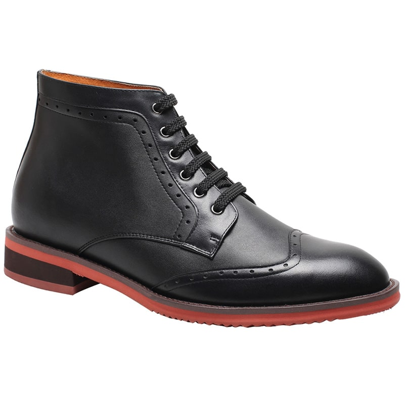 Oxford Black Men High Heel Elevator Boots Increasing Heights 7CM/2.76 Inches