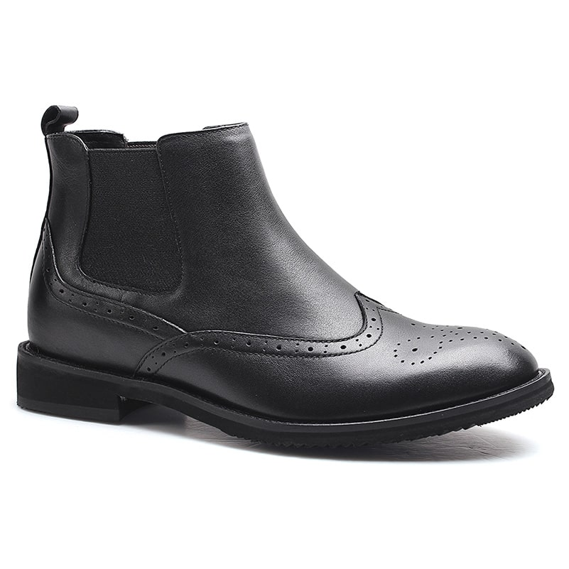 Brogues Black Leather Men Taller Boots Elevator Climbing Boots 6 CM/2.36 Inches