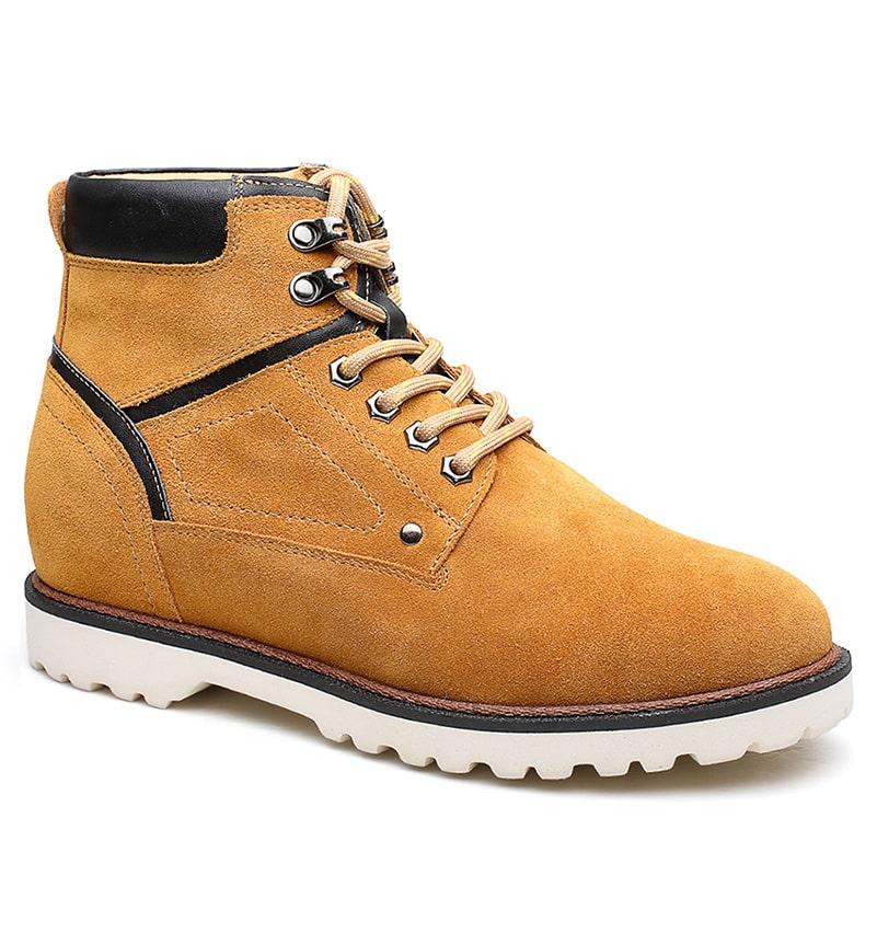 Extra High Heel Hidden Boots Men Brown Leather Elevator Boots More Taller 7cm (2.76 Inch)
