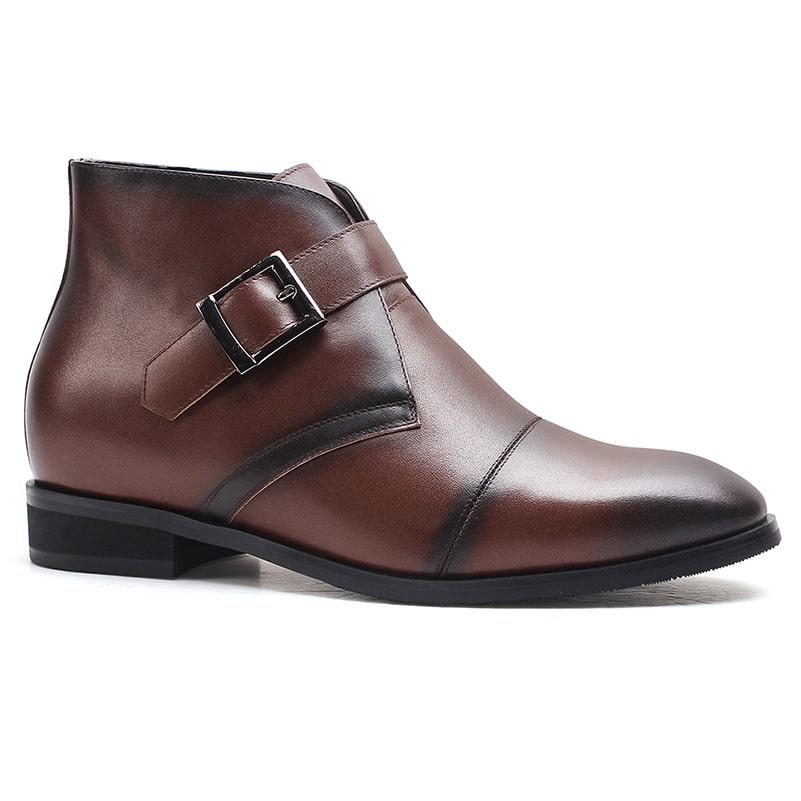 Winter Warm Boots Hidden High Heel Men Brown Boots Taller 7 CM/2.76 Inches