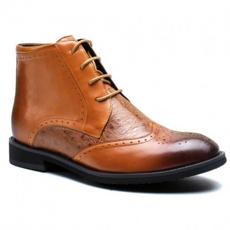 Ostrich Grain Men Lifting Elevator Boots Hidden Heel 6 CM /2.36 Inches Shoes