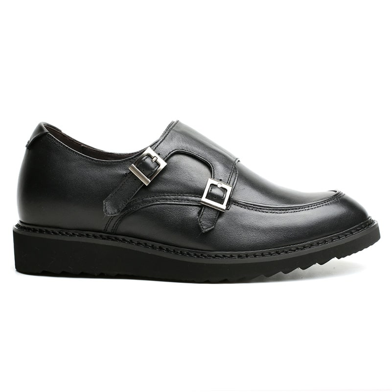 Double Monk-Strap High Heel Elevator Men Casual Shoes 6 CM /2.36 Inches