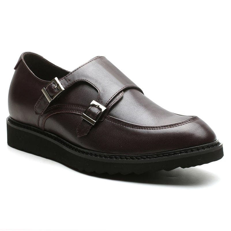 Buy Double Monk-Strap Shoes Online Men's Brown Leather Shoes Taller 6 CM/2.36 Inches