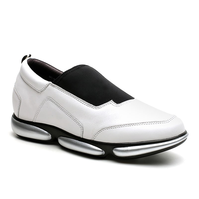 Men Casual Slip-On Elevator Shoes White & Black Leather 6 CM /2.36 Inches