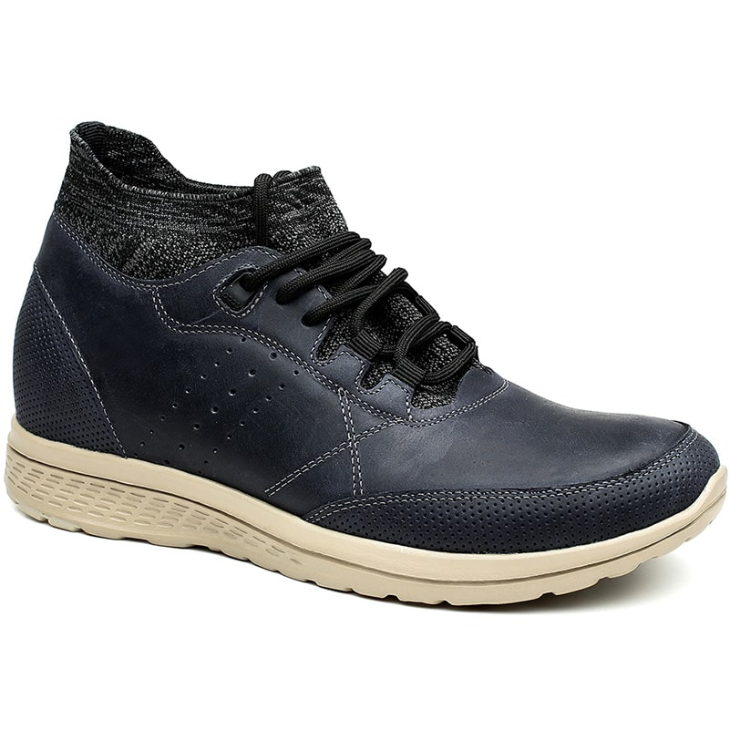 Men Casual Hidden High Heel Blue Elevator Shoes Gives Extra Height 7CM /2.76 Inches