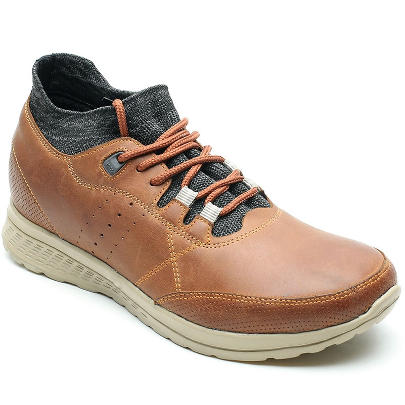 Men Elevator Casual Brown Leather Shoes Height Lifting 7CM /2.76 Inches