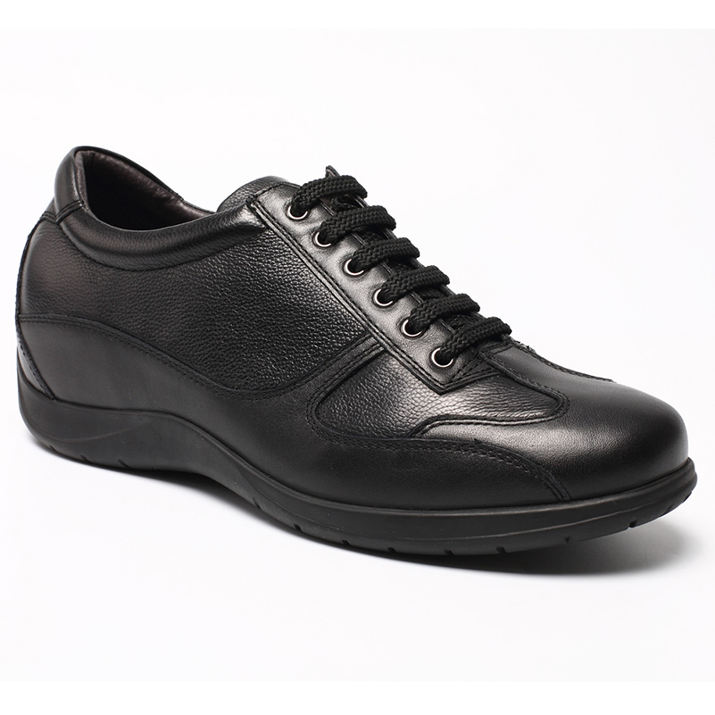 Men Black Cow Leather Causal Elevator Shoes With Extra Height 6cm (2.36 Inch)