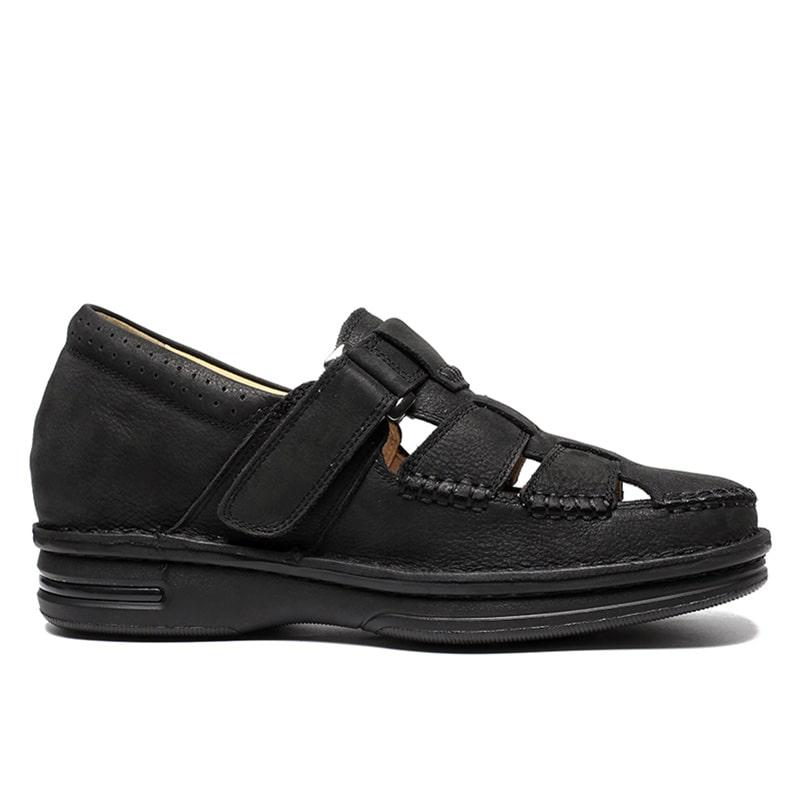 Black Elevator Sandal Men High Heel Leather Sandal Makes You Taller 7cm (2.76 Inch)