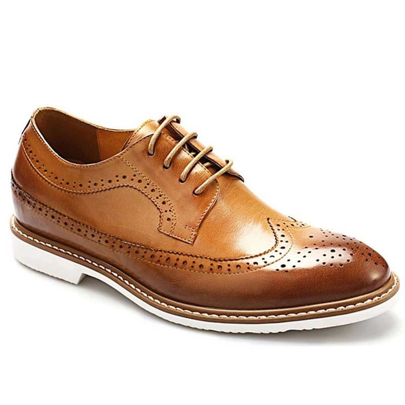 Men Stylish Casual Brown Leather Elevator Shoes Extra Height 6.5CM/2.56