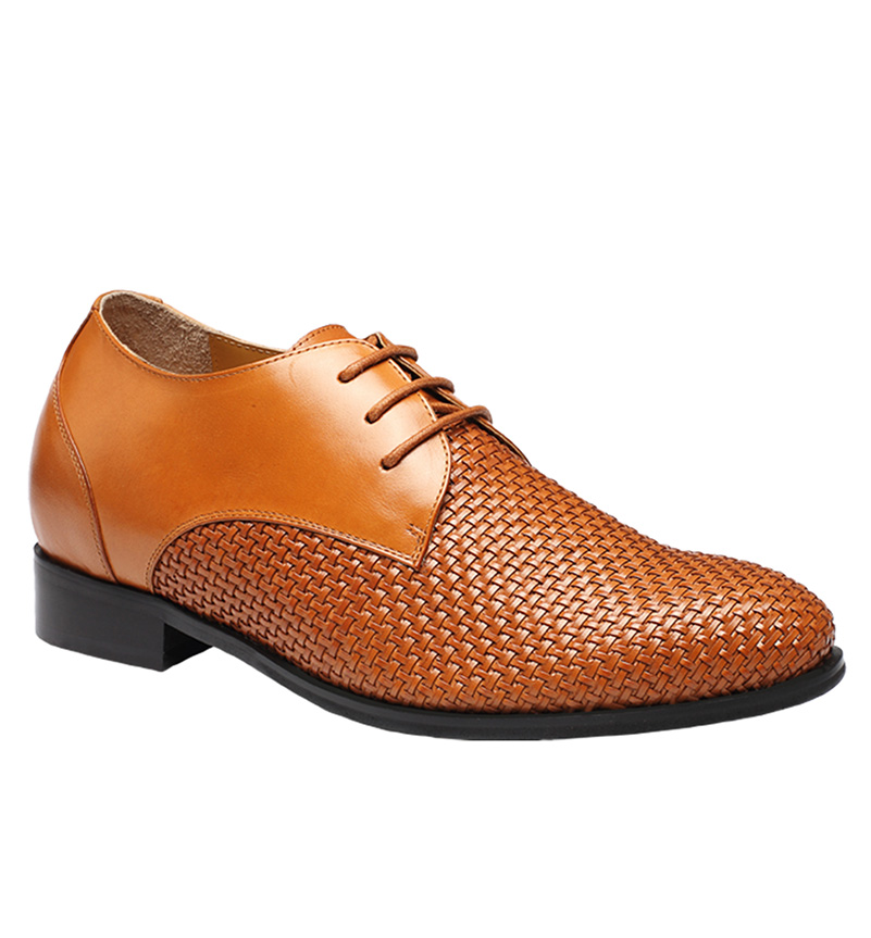 Men Brown Leather Boutique Style Woven Height Increasing Shoes Taller 7.5 CM / 2.95 Inches