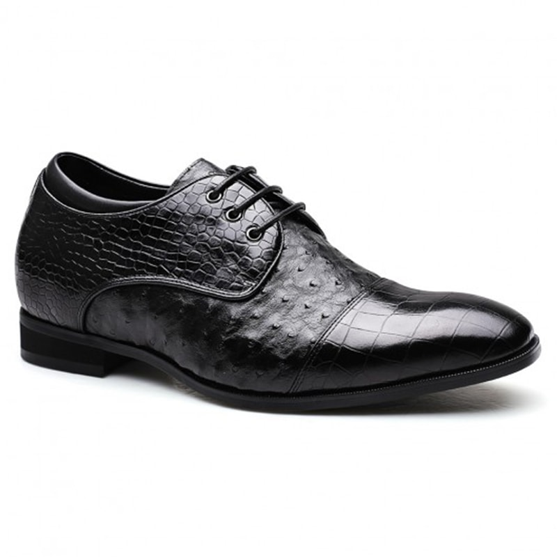 Ostrich Leather Custom Luxury Elevator Shoes Height Raising Tall Men Shoes 7 CM/2.76 Inches