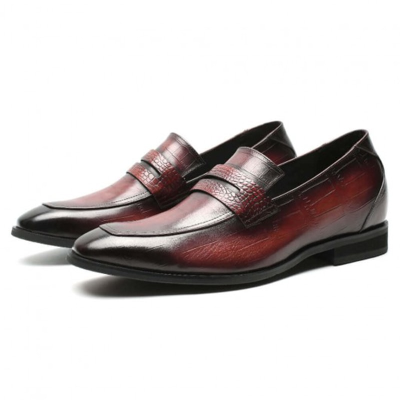 Slip On Height Increasing Loafer Shoes For Men Wine Red Men Taller Shoes 7 CM /2.76 Inches