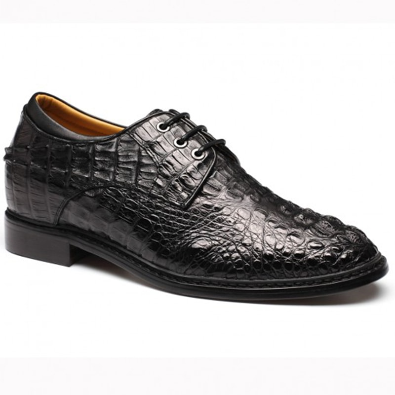 Black Men Crocodile Skin Shoes Height Increasing Elevator Shoes 7.5Cm/2.95 Inch Taller