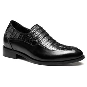 Handmade High Heel Crocodile Leather Dress Shoes For Men 7 CM / 2.76 Inches
