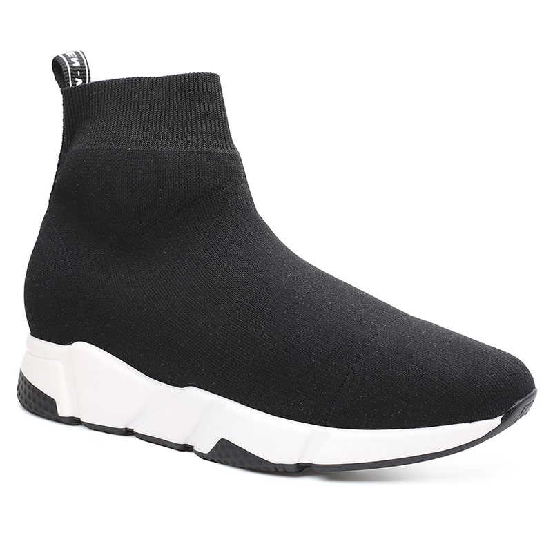 High Top Knit Sock Sneakers Men Elevator Shoes Height Increasing 6 CM /2.36 Inches