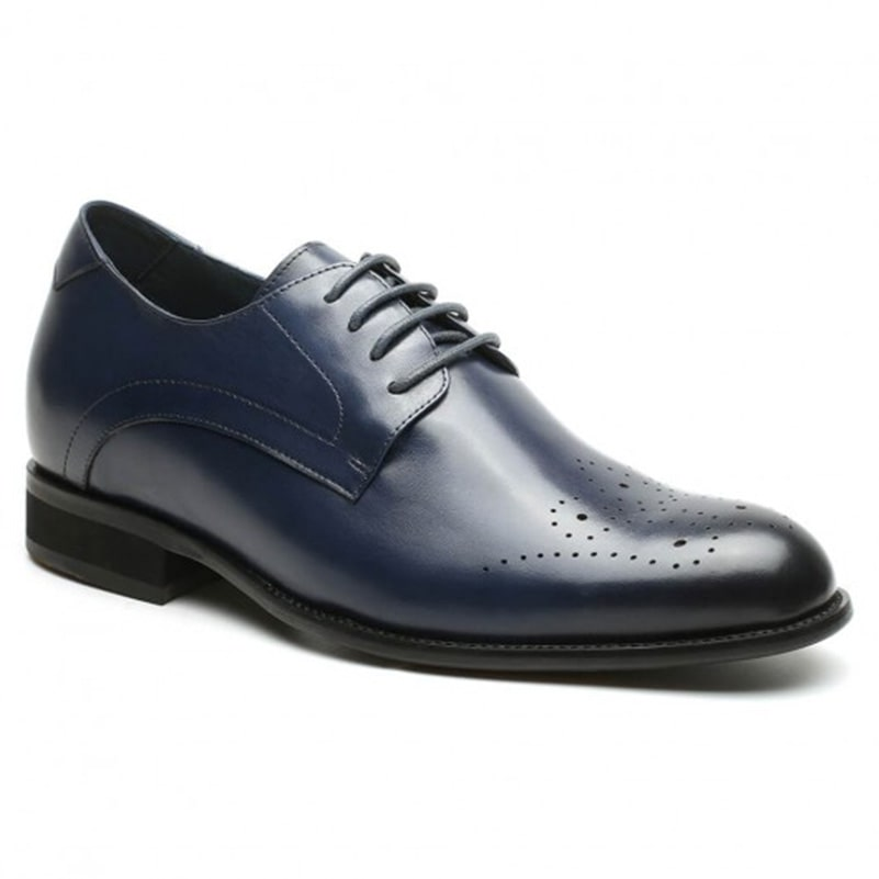 Blue Height Increase Dress Shoes Leather Formal Shoes With Lifts Men Tall